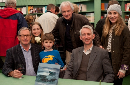 Tony Curtis, Grahame Davies and Carl Ryan with family members at the book signing